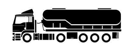 Vector silhouette, emblem, tank truck, side view. Truck; semitrailer tank. Oil, fuel tanker. Freight, liquid transportation.