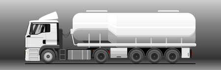 Vector tank truck side view. Truck; semitrailer tank. White blank tank truck template for advertising. Oil, fuel tanker. Freight, liquid transportation. Modern flat vector illustration.
