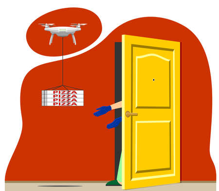 Vector concept of contactless delivery of pizza products. Quadrocopter, drone delivers the order to the door, a person in gloves picks up the parcel. Modern flat vector image.