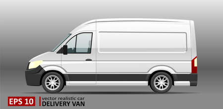 Detailed realistic Delivery Van vector Mockup template. Cargo van Template for Corporate identity design on transport and Car Branding. Cargo Minivan Mockup Isolated. Driver's side door.