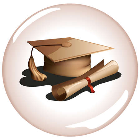 Realistic graduation hat icon with a ribbon
