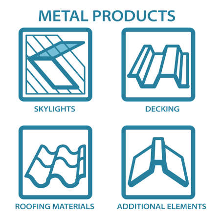 Metal products for the home. Icons set