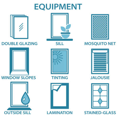 Metal and plastic windows equipment line icon set