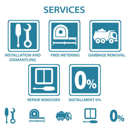 Window installation services icons set of repairs Ilustrace