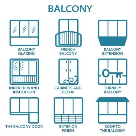 Set different types of balconies in vector Stock Illustratie