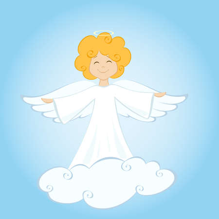 Vector illustration of angel on cloud Иллюстрация