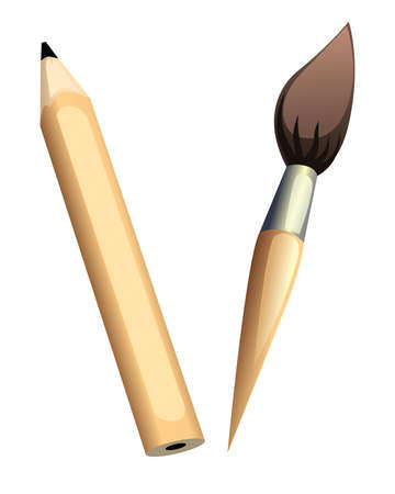 Illustration of pencil with brash