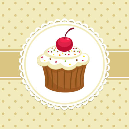 yummy: Vintage background with cupcake. Invitation template. Vector illustration.