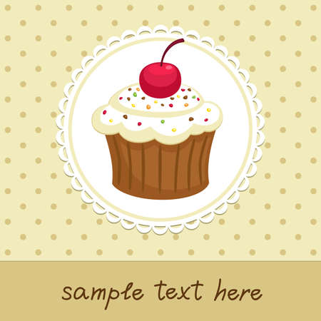 Vintage background with cupcake  Invitation template illustration  Иллюстрация
