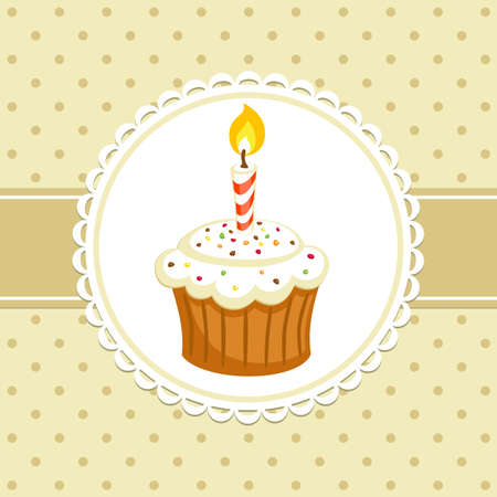 Vintage background with cupcake with candle. Invitation template. Vector illustration.