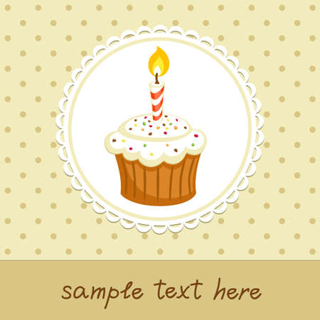 Vintage background with cupcake with candle  Invitation template  Vector illustration
