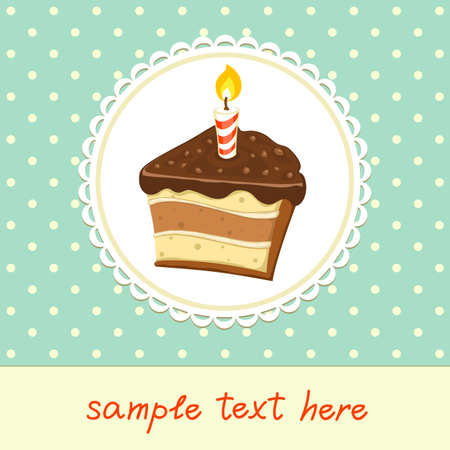 Vintage background with piece of Cake with candle. Invitation template. Vector illustration. Иллюстрация