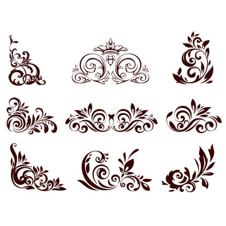 corner ornament: Set of floral element for design illustration.