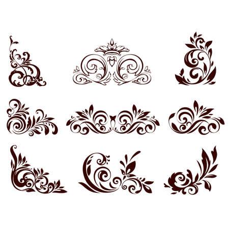 Set of floral element for design illustration.