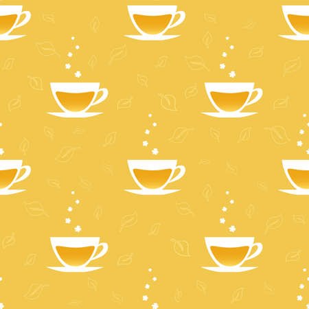 steam of a leaf: Seamless pattern with cups of tea. Vector illustration