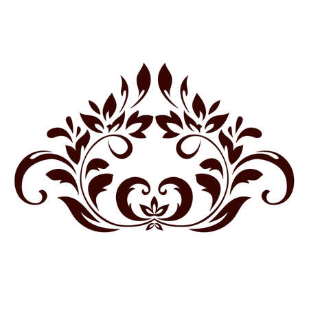 Floral ornament with leaves and swirls for design. Vector illustration. Иллюстрация
