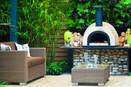 pizza oven: Tranquil garden with a patio area