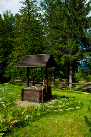 water garden: Carpathian montains landscape with a well