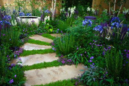 Ruhige Gartenlandschaft Standard-Bild - 49194402