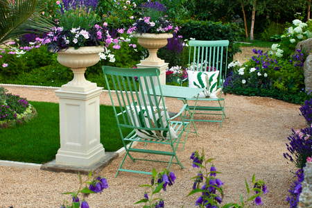 patio chairs: Tranquil garden landscape