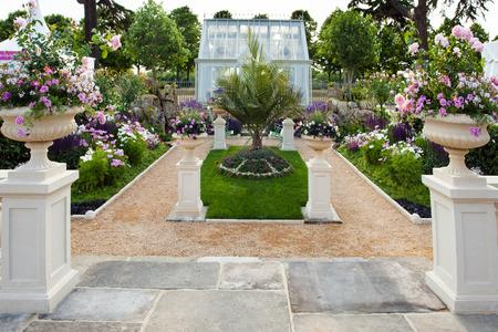flower garden path: Tranquil garden landscape