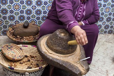 Extracting argan oil Foto de archivo