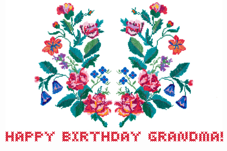 Happy Birthday Grandma card. Embroidered bouquet of flowers repeat isolated on white background
