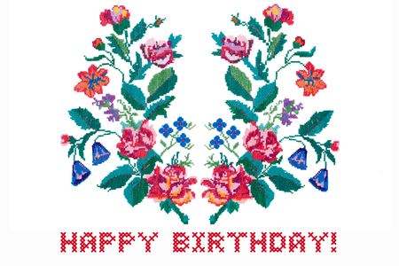 Happy Birthday card. Embroidered bouquet of flowers repeat isolated on white background Archivio Fotografico - 96868608