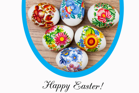 Lettering Happy Easter and decorated Easter eggs Standard-Bild
