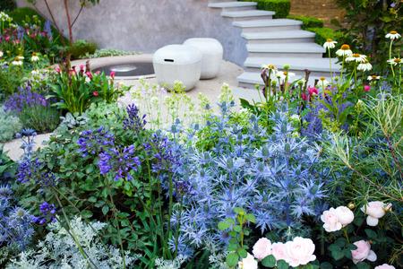 Summer tranquil garden landscape, patio area