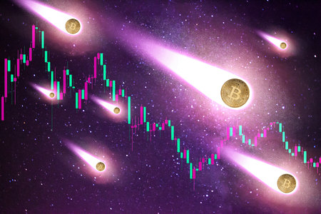 Collage of bitcoins as shooting stars folling down and down going graphic chart