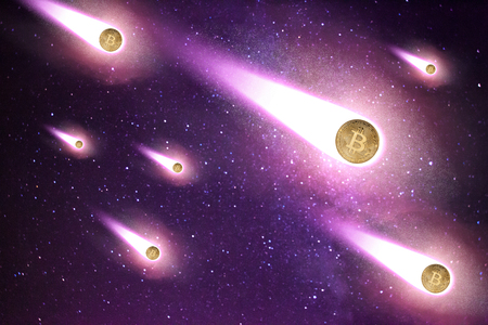 Bitcoins as shooting stars folling down on starry sky background