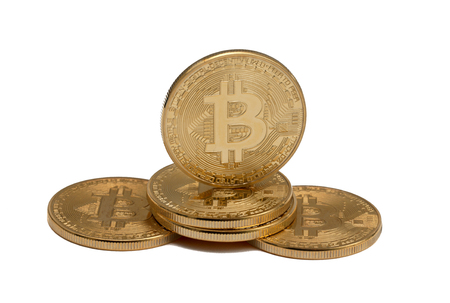 Bitcoin coins isolated on white background