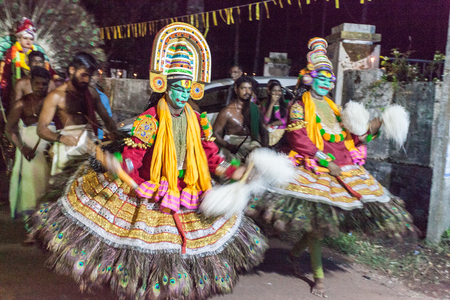 Traditional Kathakali dance on a village carnival in Kerala, India