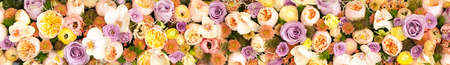 Background of orange, violet roses and chrysanthemum