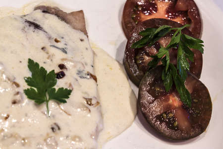 Image of Steak of sword fish with sauce roquefort photo