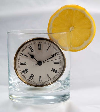 Image of a clock inside of a glass photo