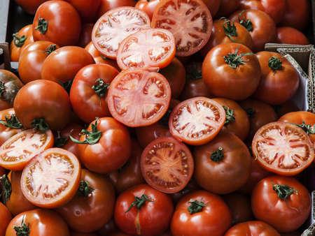 Image of tomatoes at street market photo
