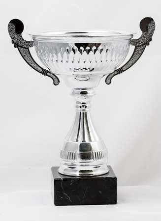 Silver cup isolated on white photo