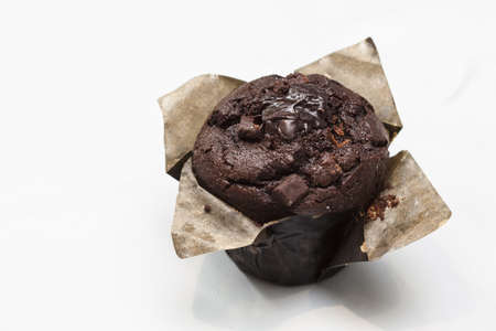 choco chips: Delicious chocolate muffin with choco chips and sweet syrup