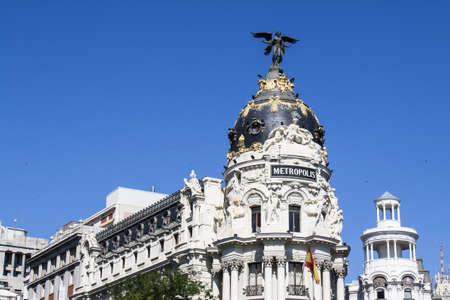 gran via: Gran Via buildings at  Madrid,Spain Stock Photo