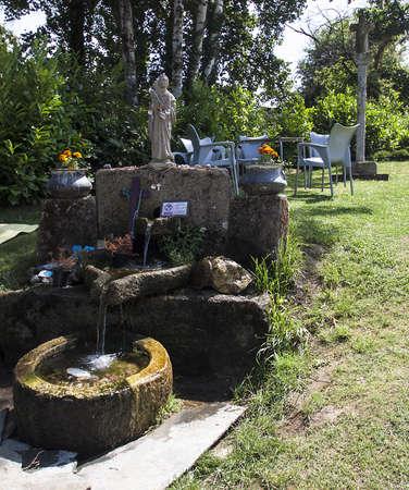 camino: Pilgrim Fountain at Melide, Camino de Santiago,Galicia,Spain