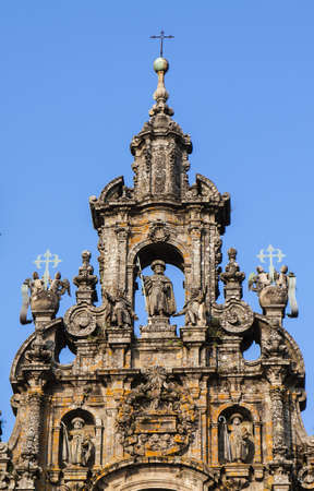 The Romanic facade of the catherdal at Santiago de Compostela  photo