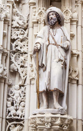 Santiago Statue and architecture details at Santiago Cathedral, Spain photo