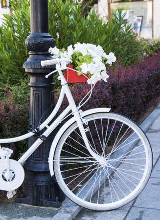 decorated bike: Bike decorato con fiori. Archivio Fotografico