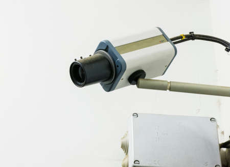 close circuit camera: A close view of a closed circuit television security camera Stock Photo