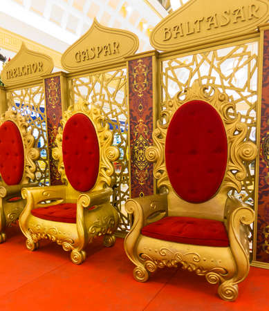 wisemen: Wisemen Caspar Melchior and Balthasar thrones Stock Photo