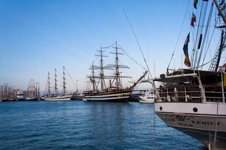 afloat: CADIZ, SPAIN   Italian Navy Ship, Amerigo Vespucci on harbor