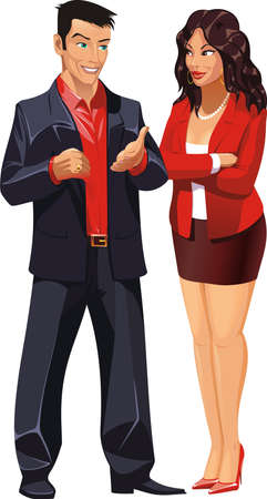 skirt suit: Man and woman are talking business