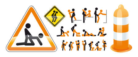 An unusual illustration of the poses in sex with little people on the road signs  Ilustração